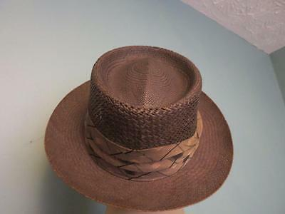 5f22d5c4b8c3e Vintage Ecuador Genuine Panama Style Straw Hat w Leather Band 7 1/8 Natley  Label