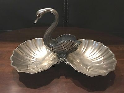Vintage Silver Swan Sea Clam Shell Serving Appetizer Dish /Tray Toothpick holder