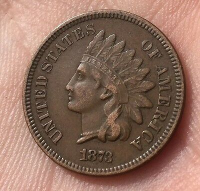 1873 Indian Head 1 Cent Coin US Very Nice Detail Almost Unc Rare