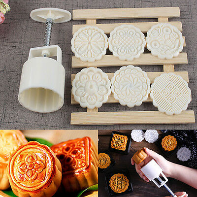 6 Flower Stamps 75g Round Cake Mold Mooncake Mould Moon Cake Decor Baking Tool