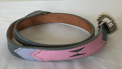 Nocona Western Belt Pink/Gray leather Womens Sz 28
