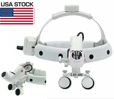 2.5X Dental 5W LED Surgical Medical Headband Loupe with Head Light DY-105 White
