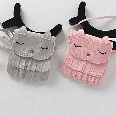 New Cute Children Girls Tassel Small Cat Shoulder Messenger Bag Mini Coin Purses