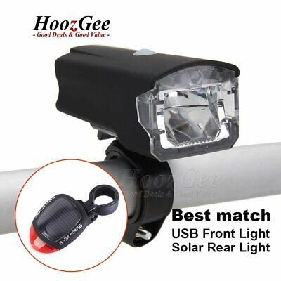 USB Rechargeable LED Bike Bicycle Cycle Front Lights Solar Rear Tail Lamps Set