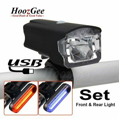 USB Rechargeable LED MTB Bike Bicycle Cycle Head Front Rear Tail Lights Lamp Set