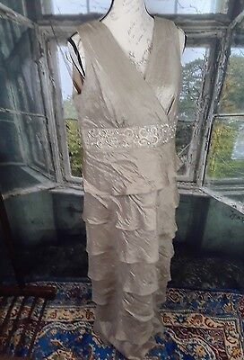 R&m Richards Gold Lined Tiered Sleeveless Mother Of The Bride Dress Size 14