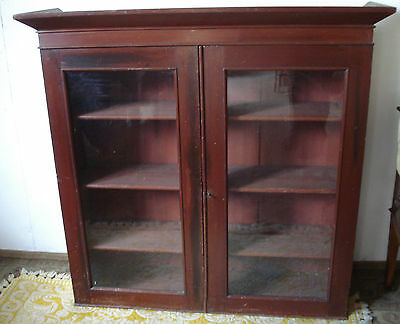 Antique Glazed Victorian Bookcase - Adjustable Shelves - Pine - Somerset