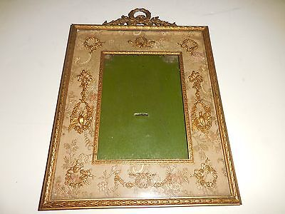 Antique Ornate French Gilt Bronze Picture Frame Photo W/ Silk Matting