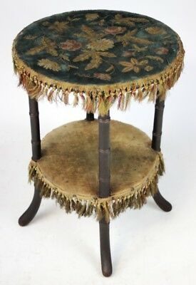 Antique Victorian Embroidered Velvet Top Mahogany Occasional Table [PL3519]