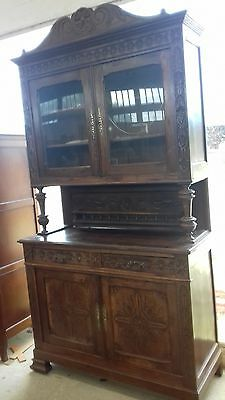 ANTIQUE HANDMADE CARVED FRENCH glass door top BUFFET/SIDEBOARD WITH KEYS