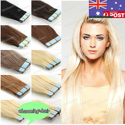 Seamless Tape in Skin Weft Indian Remy Human Hair Extensions Straight 7A AUStock
