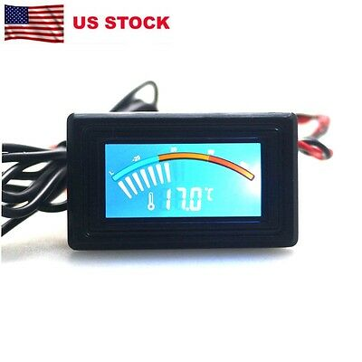 Digital Thermometer Car Waterproof Temperature Meter Gauge 12V 24V C/F Blue LCD