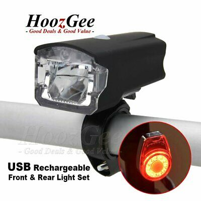 USB Rechargeable LED MTB Bike Bicycle Cycle Front Rear Tail Lights Lamps Set Kit