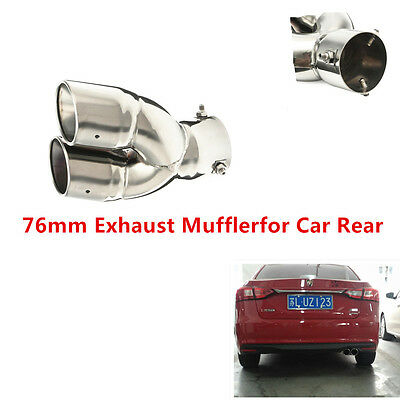 1x 76mm Universal Chrome Stainless Steel Round Exhaust Pipe Tail Muffler for Car