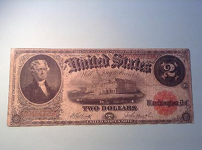 1917 Large Size $ 2 Dollar Note Red Seal