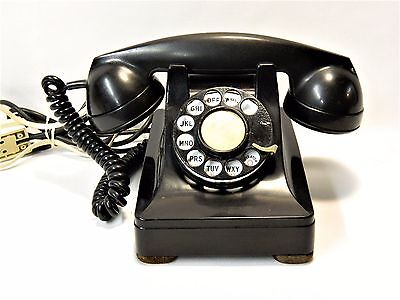 Vintage 1939 Western Electric Black Rotary Dial Telephone W/ Adapter - Working!