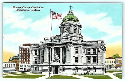 Postcard IN Bloomington Monroe County Courthouse Vintage Linen A18