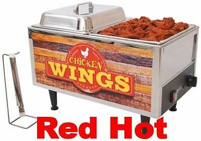 Benchmark 51072W Commercial Stainless Steel Chicken Wings Warmer With Domed lids