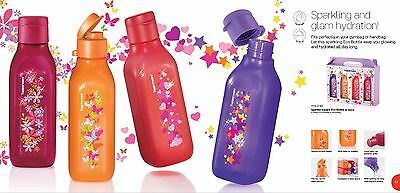 New Tupperware sparkle square eco bottle h2o ecoeasy (4) 500ml