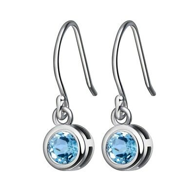 Dangle Drop Earrings Solid 925 Sterling Silver 1.2ct 5mm Round Sky Blue Topaz