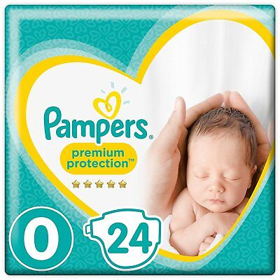 Pampers Premium Protection New Baby Size 0 Nappies - Carry Pack - 24 Nappies