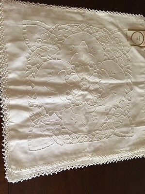"""White Hand Made  Pillow Sham, Embroidered Lace Border NEW 18"""" X 18"""""""