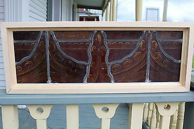 Victorian Antique Fired Painted Stained Glass Window 10 By 26 3/4 Church ??