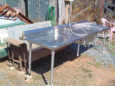 Commercial 8 Ft. X 28 X 29 Hog Farm Stainless Prep Table & Hidden Sink, Faucet