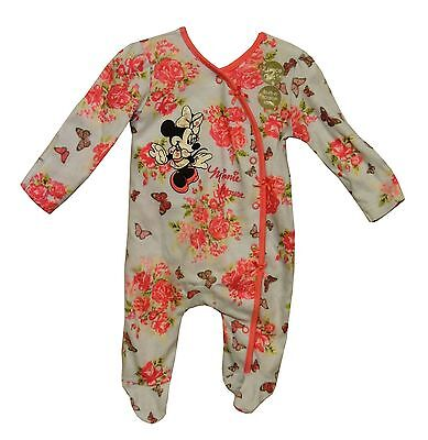 NEW Disney Baby Girls Blue Pink Floral Minnie Romper Babygrow Sleepsuit with Hat