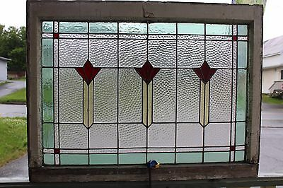 ANTIQUE STAINED LEADED GLASS WINDOW ORIGINAL WOOD FRAME ARCHITECTURAL 36 x 27