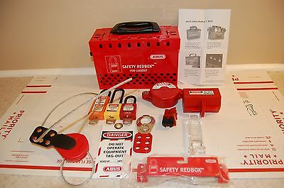 ABUS Mechanical - B835 Safety Redbox with lot of accessories lockout devices