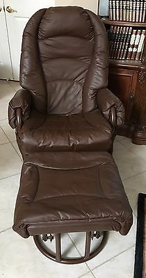 Brown Leather Nursery Glider