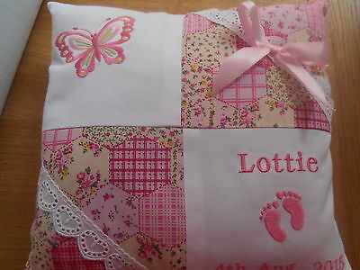Personalised Embroidered Baby Cushion Butterfly Design