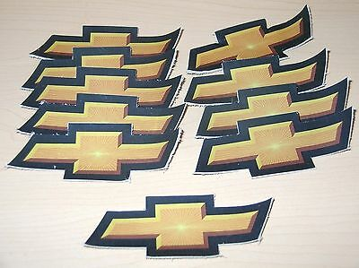 """*LOT OF 10* CHEVY / CHEVROLET 4"""" Car Logo Leather Patch Brown/Gold/Black"""