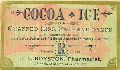 1880's-90's Cocoa Ice, J.L. Royston Pharmacist, St. Louis, MO Bottle Label F93