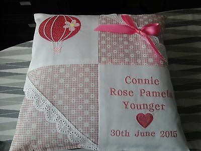 """PERSONALISED BABY CUSHION """"HOT AIR BALLOON"""" for GIRL or BOY"""