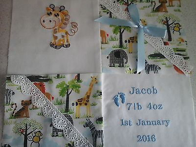 """PERSONALISED EMBROIDERED BABY CUSHION """"ANIMALS"""" Design"""