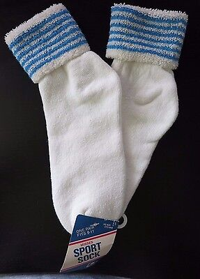 Vintage 1980s White w/Blue Stripes Terry Cloth Turned Cuff Anklet Socks NWT