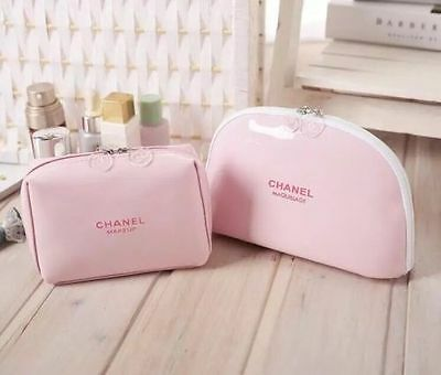 Chanel Beauty Glossy Pink Make Up Bag Set of 2 Brand New Vip Gift