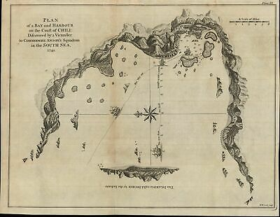 Chile coastline discovery Anson voyage South America c.1750 Seale chart map