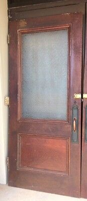 Antique Vintage Door Exterior Entry Wood  Textured Glass Window