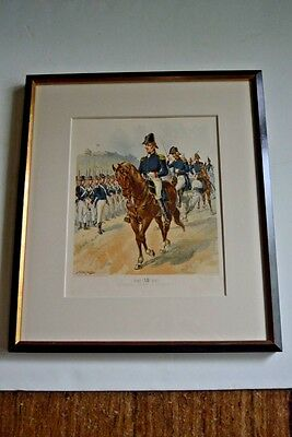 """Antique military print from """"Uniforms of US Army,"""" H.A. Ogden, framed 1800s"""