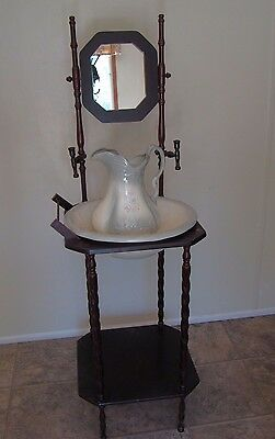 Antique Wooden Wash Basin Stand With Mirror & Ironstone England Water Pitcher
