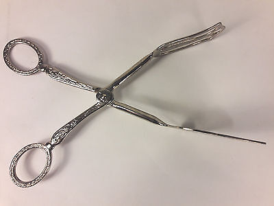 "Vintage Ornate ""EP Zinc"" Silver Plated Salad Sandwich Hors d'oeuv Serving Tongs"