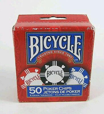 NEW Bicycle Box of 50 Clay Filled 8 Gram Poker Chips 25 Blue 15 Red 10 Black