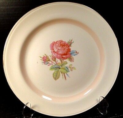 "Homer Laughlin Eggshell Nautilus N1580 Dinner Plate 10"" Moss Rose"