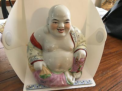 "VINTAGE Chinese Hand Painted Porcelain Laughing Buddha Statue 8.5"" tall"