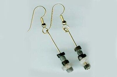 3000BC Ancient Assyrian Semi-Precious Agate Gemstone Gold Fill Earrings