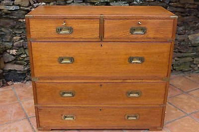19th CENTURY MAHOGANY CAMPAIGN CHEST by ARMY & NAVY | MINT CONDITION