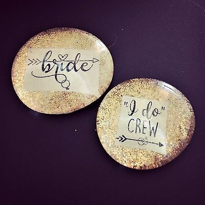 I DO CREW Ultra Sparkle Pins, 6 PK Bachelorette Party, Hen Night Badges, Button